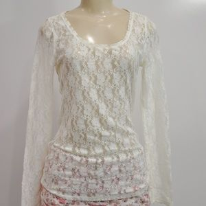 Express Floral Lace Long Sleeve Shirt